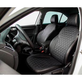 Авточехлы для салона из экокожи для Volkswagen Passat B7 '10-14, ромб черные (Seintex)