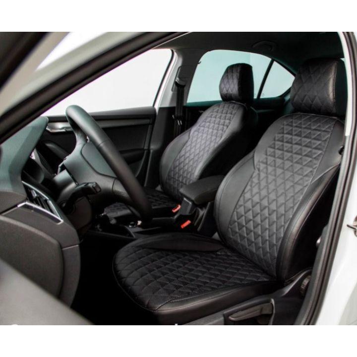 Авточехлы для салона из экокожи для Mitsubishi Lancer 9 '04-09, ромб черные (Seintex)