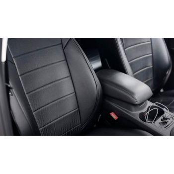 Авточехлы для салона из экокожи для Mazda 3 '14-18, хетчбек черные (Seintex)