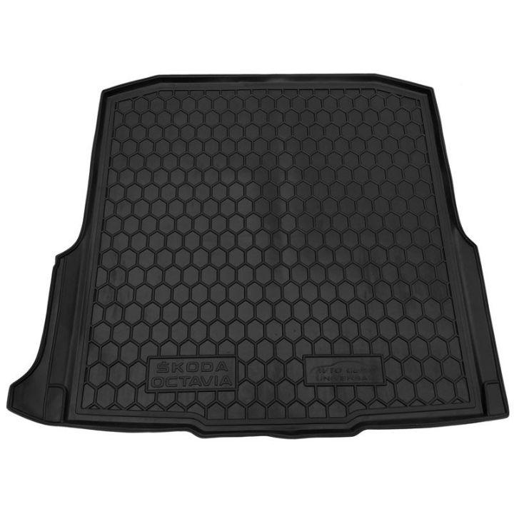 Коврик в багажник для Skoda Octavia A7 '13- лифтбэк с боксом усилителя, полиуретановый (AVTO-Gumm)