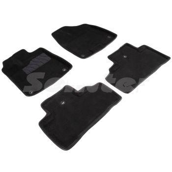 Коврики в салон 3d для Acura MDX '14-, черные текстильные, (Seintex)