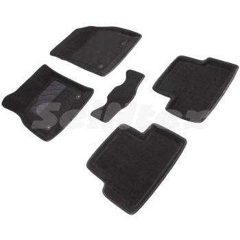 Коврики в салон 3d для Chevrolet Cruze '09-16, черные текстильные, (Seintex)