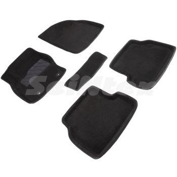 Коврики в салон 3d для Ford Focus 2 '04-11, черные текстильные, (Seintex)