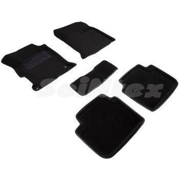 Коврики в салон 3d для Honda Accord 9 '13-17, черные текстильные, (Seintex)
