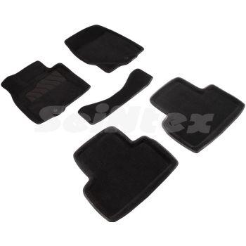 Коврики в салон 3d для Infiniti FX (QX70) '09-17, черные текстильные, (Seintex)