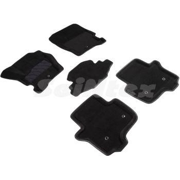 Коврики в салон 3d для Land Rover Discovery 3/4 '04-16, черные текстильные, (Seintex)