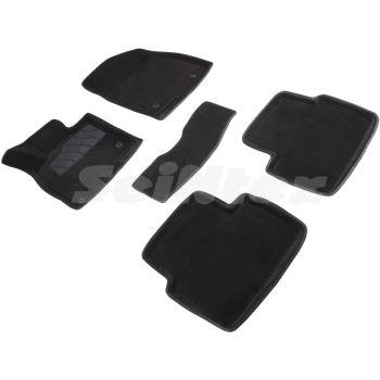 Коврики в салон 3d для Mazda 3 '14-18, черные текстильные, (Seintex)