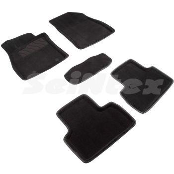 Коврики в салон 3d для Nissan Juke '11-20, черные текстильные, (Seintex)