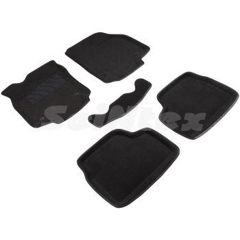 Коврики в салон 3d для Opel Astra H '04-15, черные текстильные, (Seintex)