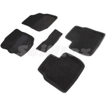 Коврики в салон 3d для Citroen C-Elysee '13-, черные текстильные, (Seintex)