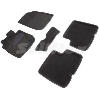 Коврики в салон 3d для Renault Duster '10-15, черные текстильные, (Seintex)