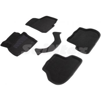 Коврики в салон 3d для Skoda Octavia A5 '05-13, черные текстильные, (Seintex)