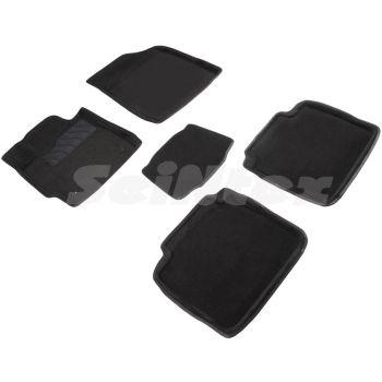Коврики в салон 3d для Toyota Camry V40 2006 - 2011, черные текстильные, (Seintex)