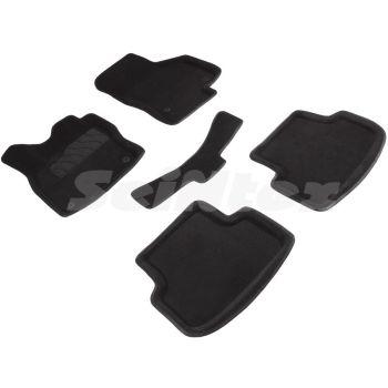 Коврики в салон 3d для Seat Leon '12-20, черные текстильные, (Seintex)