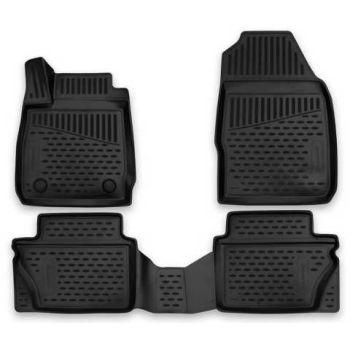 Коврики 3D в салон для Ford Fiesta '09-17, полиуретановые Element-Novline