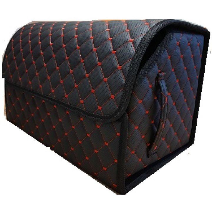 Органайзер - сумка в багажник из экокожи, L, черный - красный (Пилот)