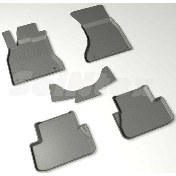 Коврики в салон для Audi A4 (B8) '08-15 резиновые, черные (Seintex)