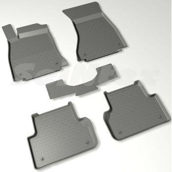 Коврики в салон для Audi A4 (B9) '15- резиновые, черные (Seintex)