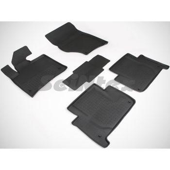 Коврики в салон для Audi Q7 '05-14 резиновые, черные (Seintex)
