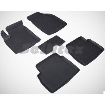 Коврики в салон для Chevrolet Aveo '04-11 резиновые, черные (Seintex)