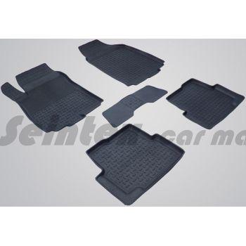 Коврики в салон для Chevrolet Aveo '11- T300 резиновые, черные (Seintex)
