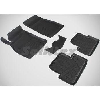 Коврики в салон для Chevrolet Cruze '09-16 резиновые, черные (Seintex)