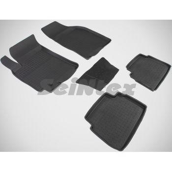 Коврики в салон для Chevrolet Lacetti '03-12 резиновые, черные (Seintex)