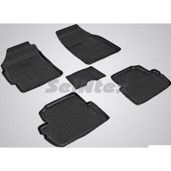 Коврики в салон для Chevrolet Spark '11- резиновые, черные (Seintex)