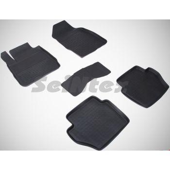 Коврики в салон для Ford Fiesta '09-17 резиновые, черные (Seintex)