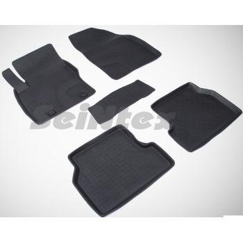 Коврики в салон для Ford Focus 2 '04-11 резиновые, черные (Seintex)