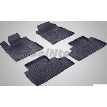 Коврики в салон для Honda CR-V '12-17 резиновые, черные (Seintex)