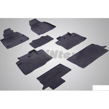 Коврики в салон для Honda Pilot '08-15 резиновые, черные (Seintex)