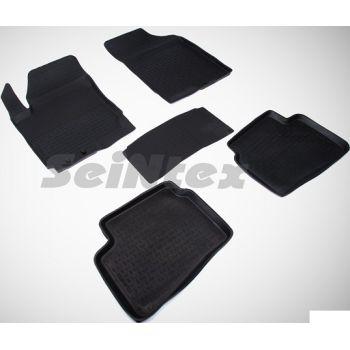 Коврики в салон для Kia Ceed '06-12 резиновые, черные (Seintex)