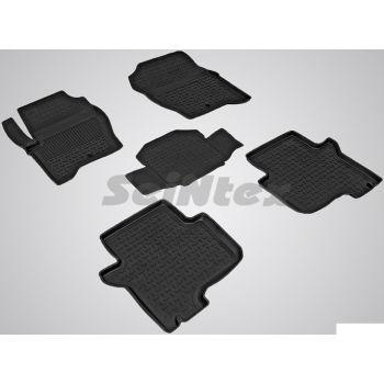 Коврики в салон для Land Rover Discovery 3/4 '04-16 резиновые, черные (Seintex)