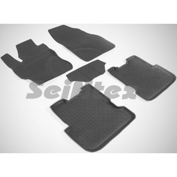 Коврики в салон для Mazda 3 '04-09 резиновые, черные (Seintex)