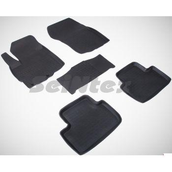 Коврики в салон для Mitsubishi ASX '10- резиновые, черные (Seintex)