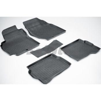 Коврики в салон для Nissan Almera Classic '06-13 резиновые, черные (Seintex)