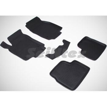 Коврики в салон для Opel Astra H '04-15 резиновые, черные (Seintex)