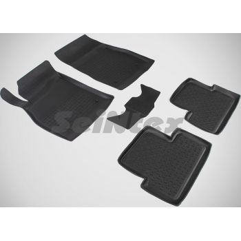Коврики в салон для Opel Astra J '09-15 резиновые, черные (Seintex)