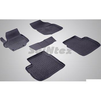 Коврики в салон для Peugeot 301 '12- резиновые, черные (Seintex)