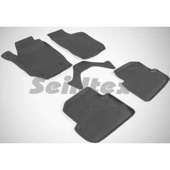 Коврики в салон для Skoda Fabia 2 '07-14 резиновые, черные (Seintex)