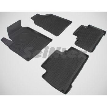 Коврики в салон для Ssangyong Korando '11- резиновые, черные (Seintex)