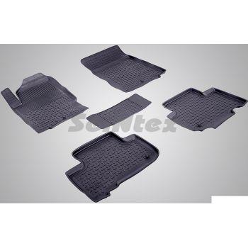 Коврики в салон для Ssangyong Rexton 3 '13-17 резиновые, черные (Seintex)