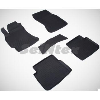Коврики в салон для Subaru Forester '08-12 резиновые, черные (Seintex)